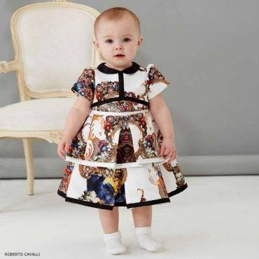ROBERTO CAVALLI Baby Girls Baroque & Floral Structured Satin Dress