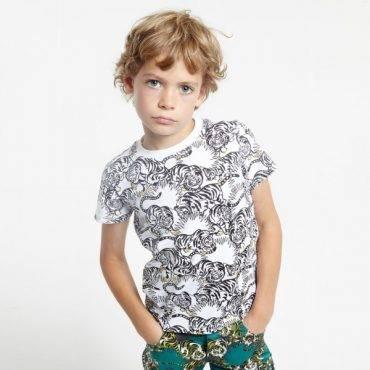 Kenzo Boys Black White Jungle Kids Tiger T-shirt