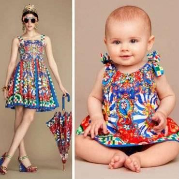 DOLCE GABBANA Baby Girls Mini Me Carretto Siciliano Cotton Dress