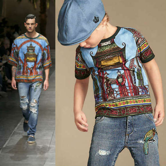DOLCE GABBANA Boys Mini Me Chinese Palace-Print-T-shirt