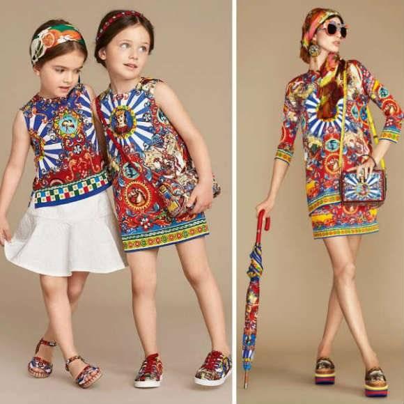 DOLCE GABBANA Girls Carretto Siciliano Mini Me Brocade Dress