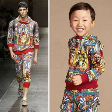 DOLCE GABBANA Mini Me Red Chinese Palace Hooded Top