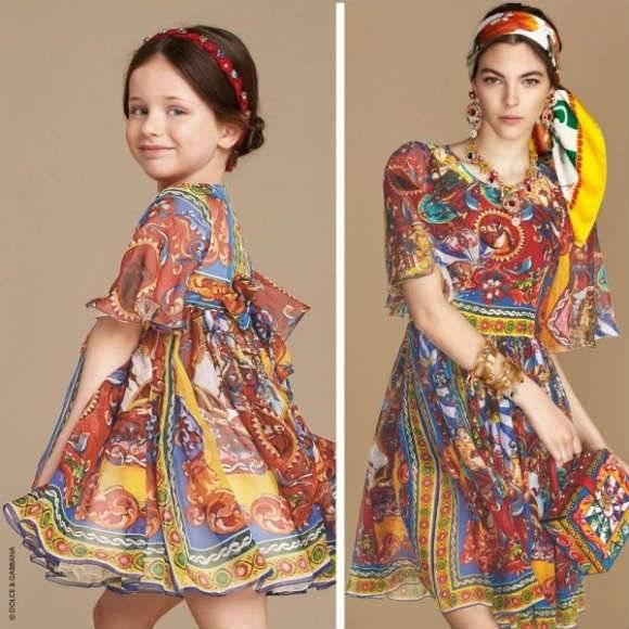 DOLCE GABBANA Girls Mini Me Silk Chiffon Carretto Siciliano Dress