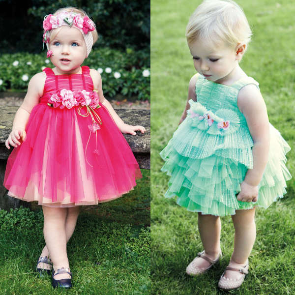 ALETTA Pink or Green Tulle Dress with Flower Belt Ruched Bodice
