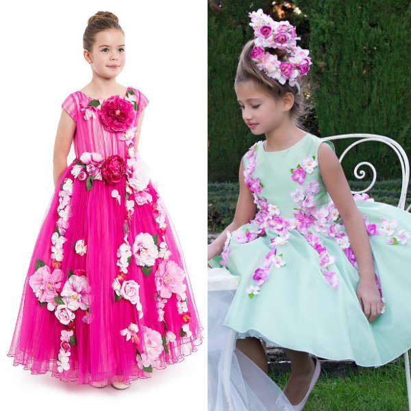 LESY LUXURY FLOWER Pink Green Layered Tulle Dress with Flowers