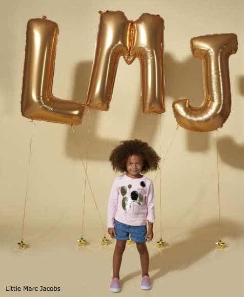 Little Marc Jacobs Girls Pink Gold Ballon Sweatshirt