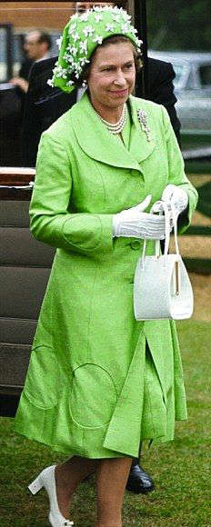 Queen Elizabeth Lime Green Outfit 1973