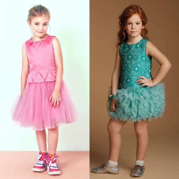 VALMAX Pink or Green Satin Silk Dress with Tulle Skirt