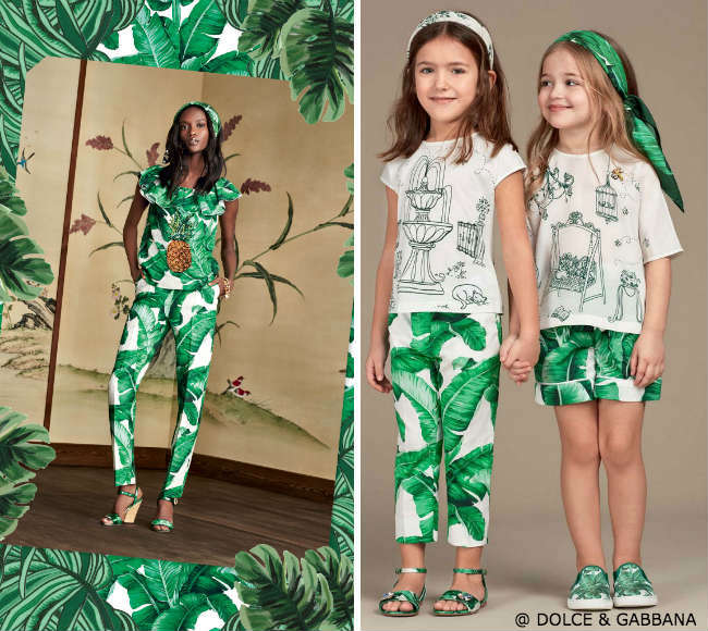 DOLCE GABBANA Girls Mini Me Green Ivory Banana Leaf Pants and Garden Shirt