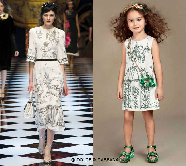 DOLCE GABBANA Mini Me Girls White Jacquard Botanical Garden Printed Dress