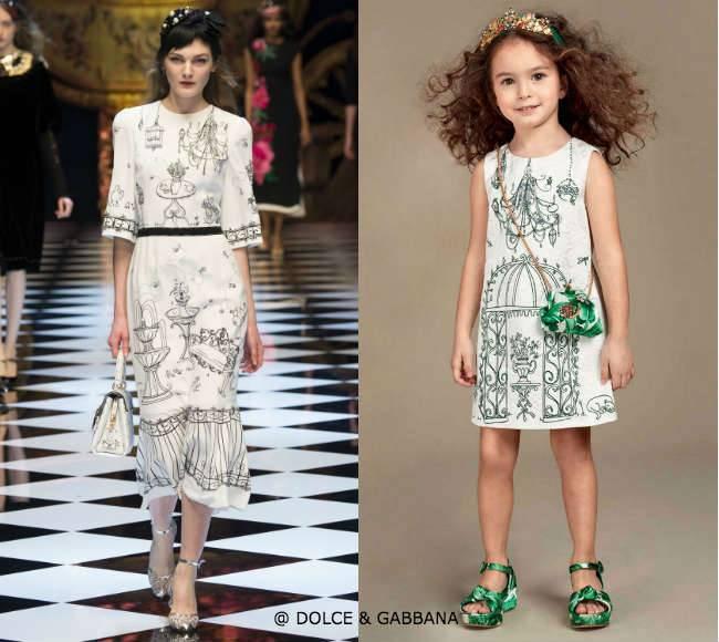 DOLCE  GABBANA Mini Me Girls White Jacquard Botanical Garden Printed Dress