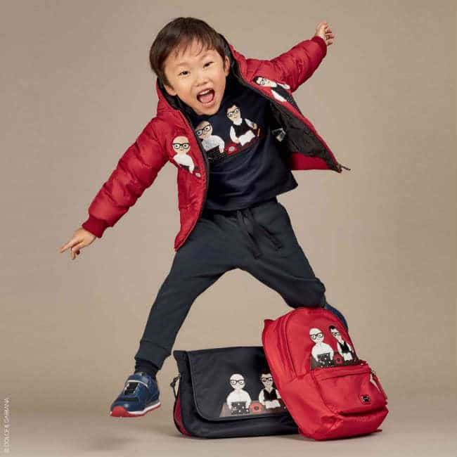 Dolce Gabbana Boys Red DG Family Down Jacket