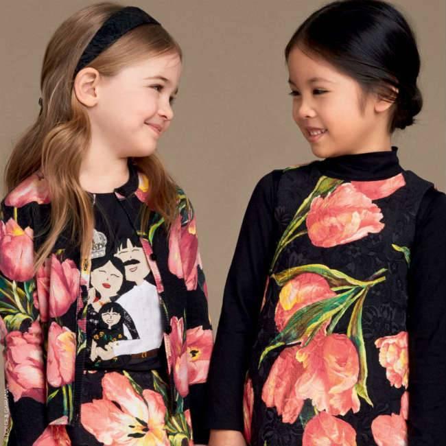 Dolce Gabbana Girls Black Silk DG Family Shirt