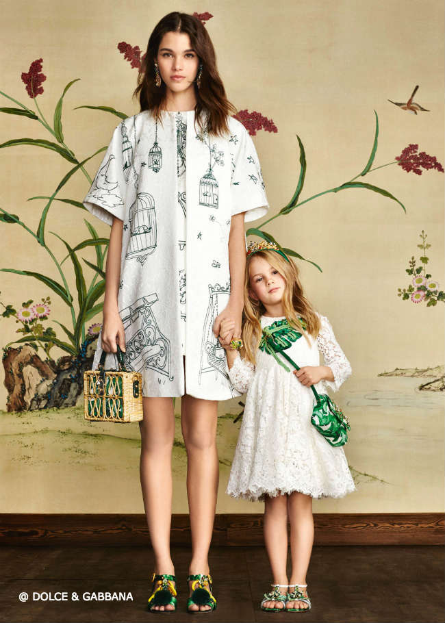 Dolce Gabbana Girls Mini Me Botanical Garden Leaf Dress
