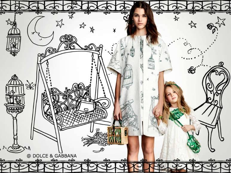 Dolce Gabbana Girls Mini Me Botanical Garden White Lace Banana Leaf Dress