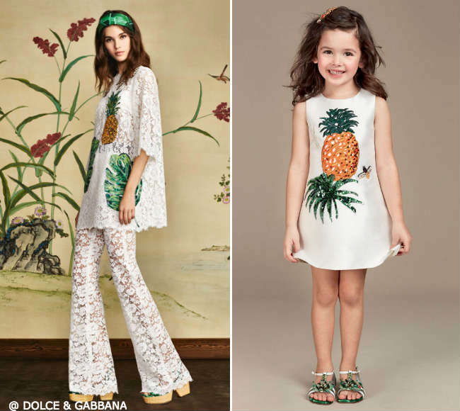 Dolce Gabbana Girls Mini Me Pineapple Botanical Garden Dresses