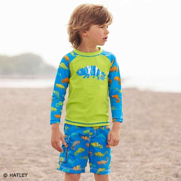 Hatley Boys Green Blue Chameleon SPF TOP