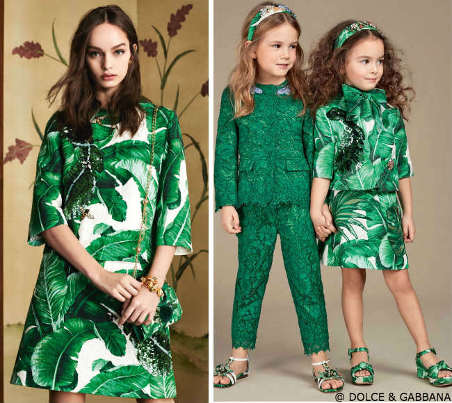 dolce gabbana mini me girls banana leaf outfit