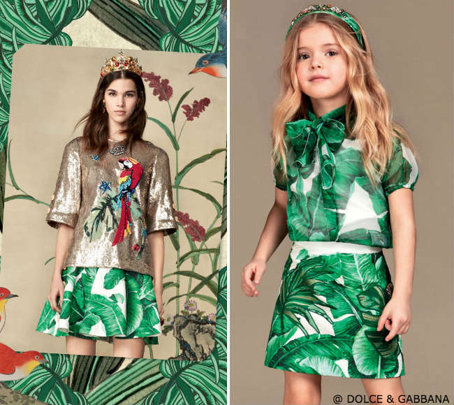dolce gabbanan girls mini me banana leaf outfit