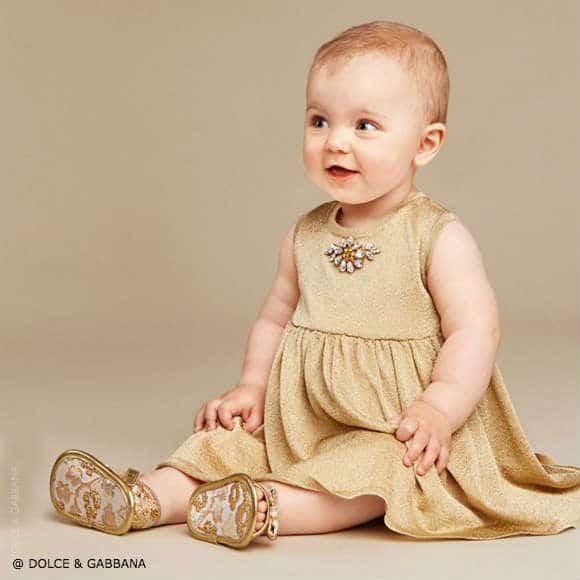 Dolce Gabbana Baby Girls Gold Knitted Dress