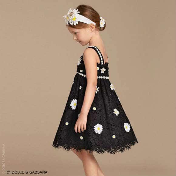 Dolce Gabbana Black Lace Daisy Embroidered Dress