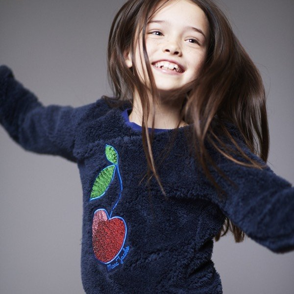 LITTLE MARC JACOBS Girls Navy Blue Plush Sweater