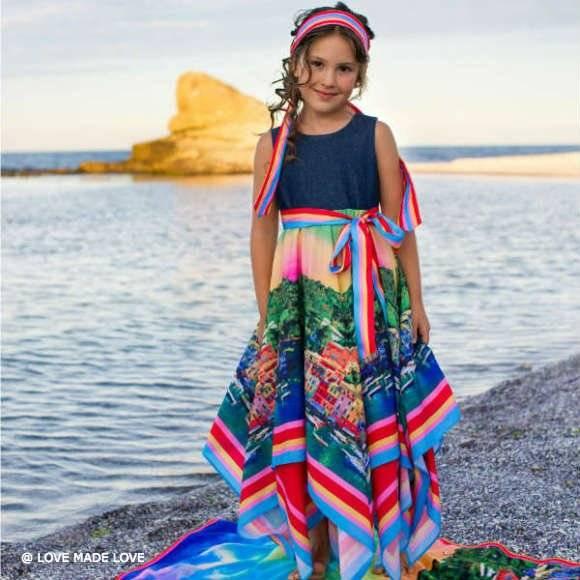 LOVE MADE LOVE Portofino Long Dress with Denim Bodice