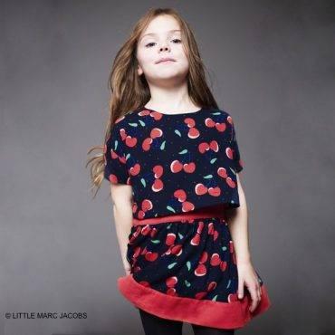 Little Marc Jacobs Navy Blue Cherry Print Crepe Dress