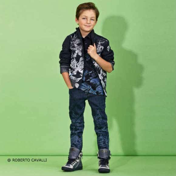ROBERTO CAVALLI Boys Dark Blue Denim Jeans