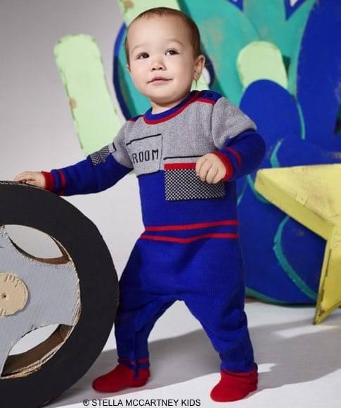 STELLA MCCARTNEY KIDS BABY BOY BLUE GREY CASHMERE BABYGROW