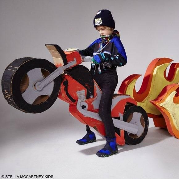 STELLA MCCARTNEY KIDS BOYS BLACK & BLUE MOTOCROSS OUTFIT