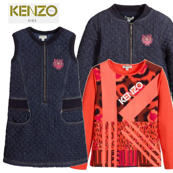 Kenzo Blue Quilted Denim Jungle Vibes Dress Pink Orange Jungle Vibes T-Shirt