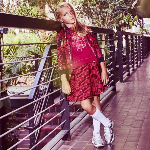 Kenzo Girls Pink Leopard Sequin Bomber Jacket Jungle Vibes Love Skirt