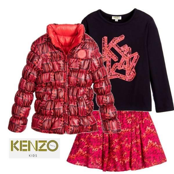 KENZO Pink Orange Viscose Crepe Jungle Vibes Skirt Logo Tshirt Reversible Jacket