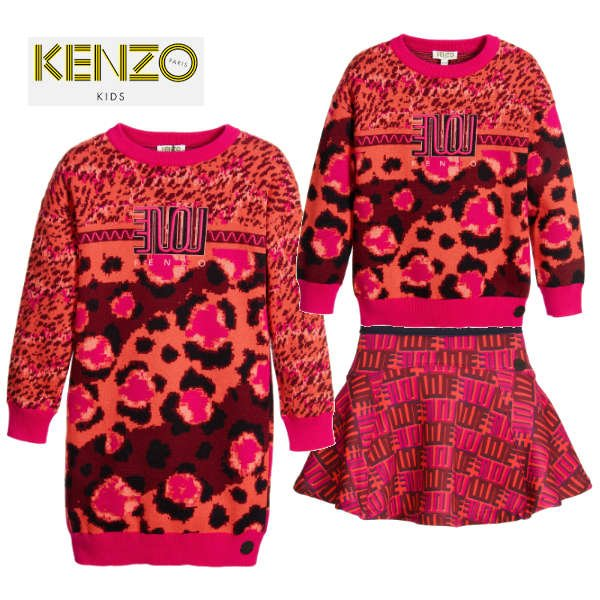 KENZO Pink 'Jungle Vibes' Knitted Sweater Dress - Sweater and Love Skirt