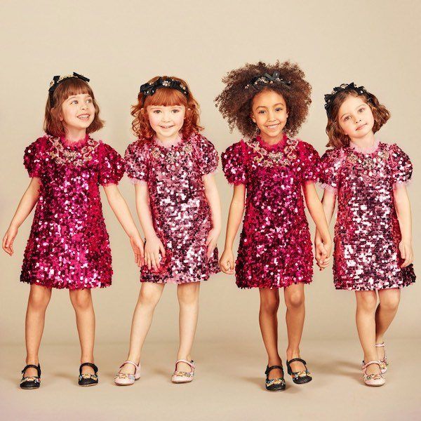 DOLCE & GABBANA Girls Bright Pink Sequinned & Jewelled Dress
