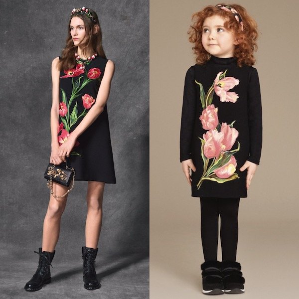 DOLCE-GABBANA-Girls-Mini-Me-Black-Wool-Crepe-Dress-with-Pink-Tulips