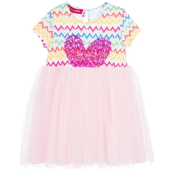 AGATHA RUIZ DE LA PRADA Girls Pink Tulle & Sequins Heart Dress