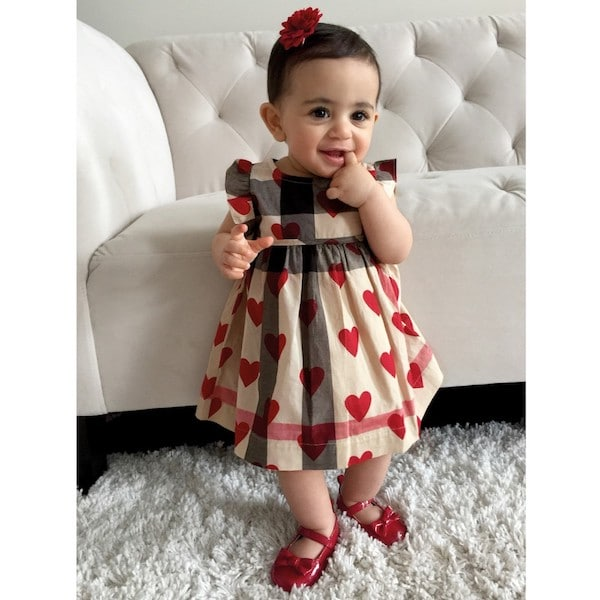 BURBERRY Baby Girls Checked Cotton Dress with Red Hearts