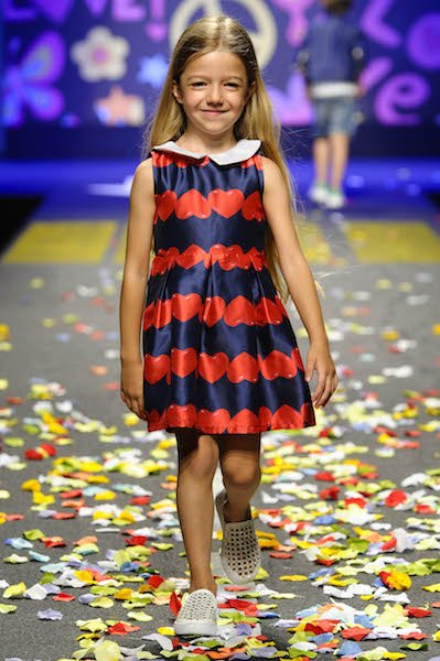 FUN & FUN Girls Blue Dress with Red Hearts Print