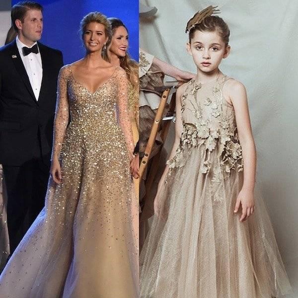 Ivanka Trump Inauguration Ball Princess Dress by Carolina Herrera Mini Me Girls Dress by Mischka Aoki