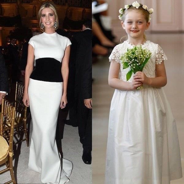 Ivanka Trump Inauguration Candlelight Dinner White Oscar de la Renta Gown Mini Me Girls Flower Dress