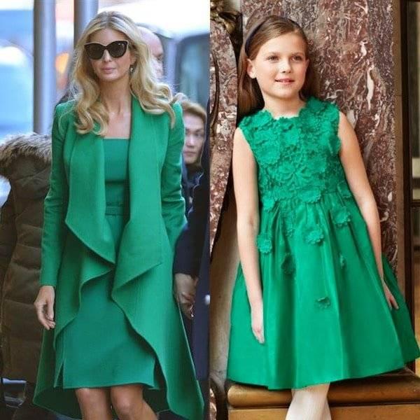 Ivanka Trump Oscar de la Rentat Green Inauguration Outfit Mini Me Girls