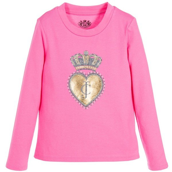 JUICY COUTURE Girls Pink Silver & Gold Glitter Heart Top