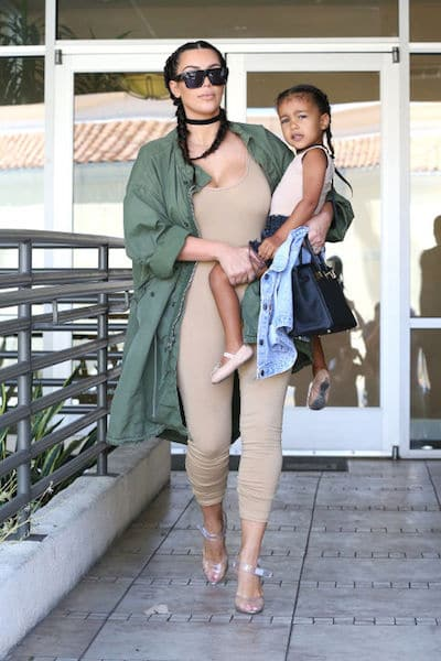 Kim Kardashian North West Matching Braids and Nude Colored Outfit