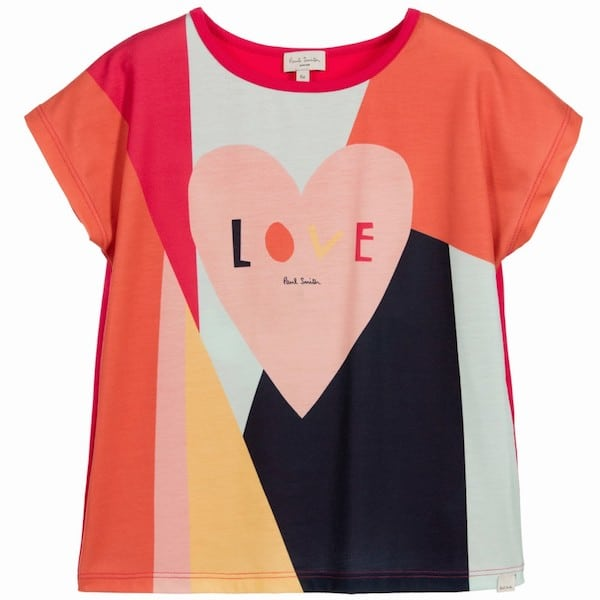 PAUL SMITH JUNIOR Girls Pink Cotton 'Nalicia' Heart T-Shirt