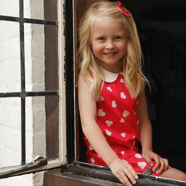 RACHEL RILEY Girls Red Cotton Hearts Dress