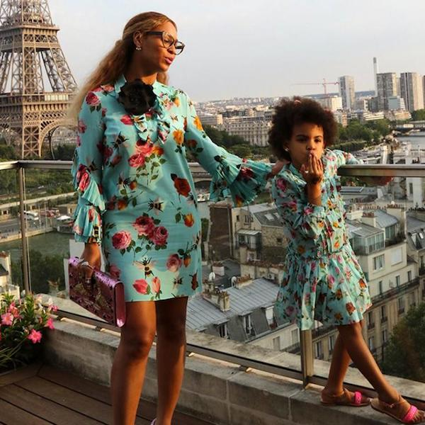 Beyonce Blue Ivy Mommy and Me Gucci Blue Floral Dress in Paris, France