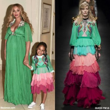 Beyonce & Blue Ivy Gucci Fall Winter 2016 Silk Green Mini Me Dress