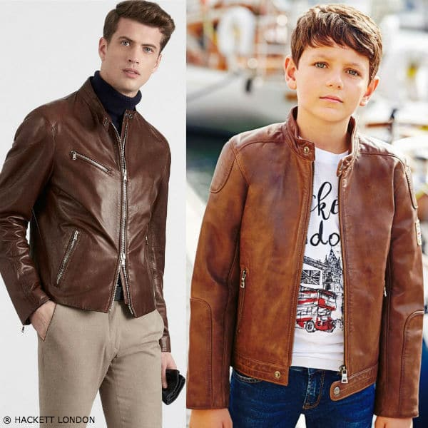 Hackett London Boys Mini Me Leather Moto Jacket London Motif Tshirt